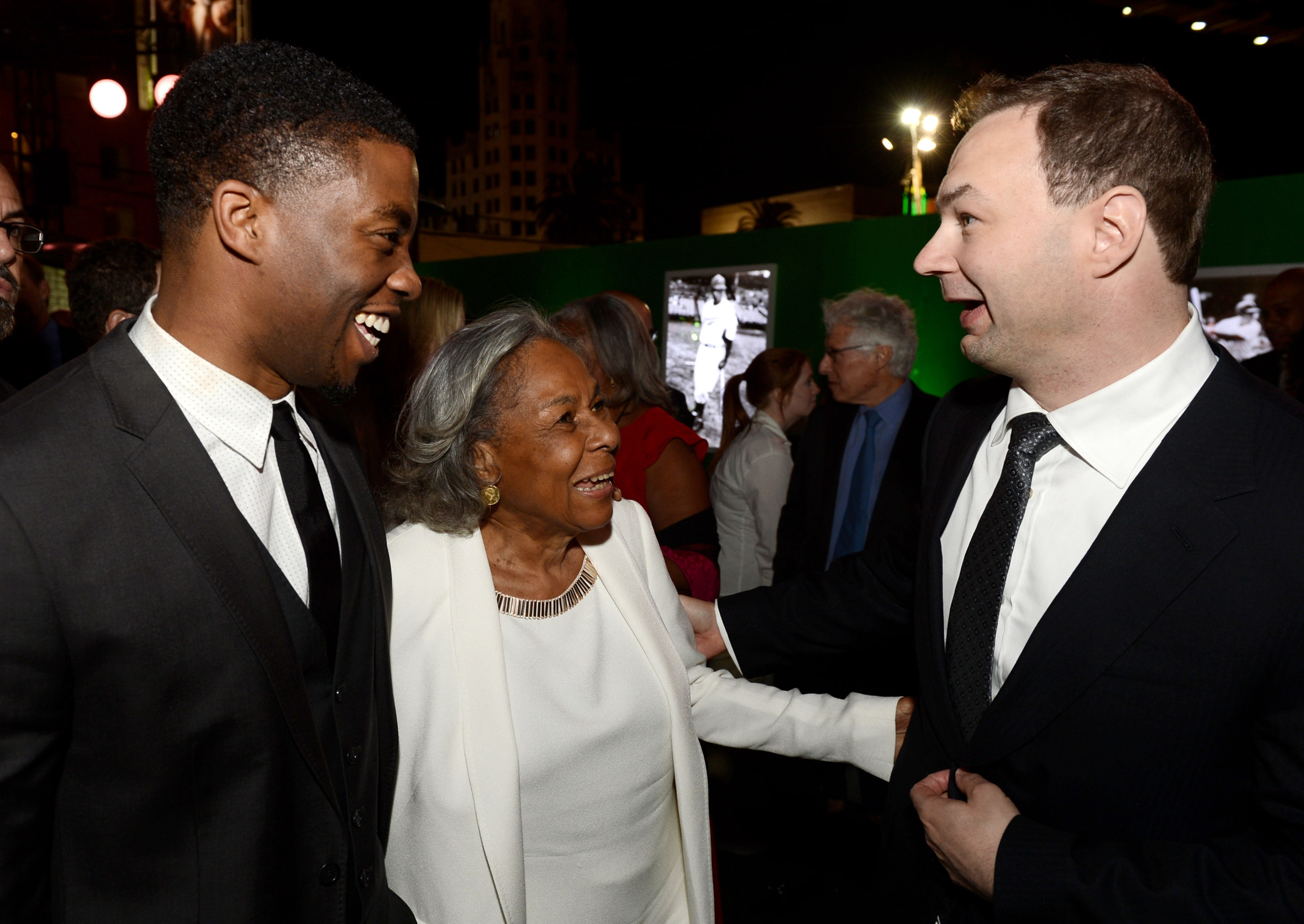 Chadwick Boseman, Jackie Robinson's widow, and Thomas Tull