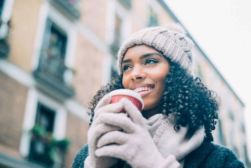 black woman bundled up in winter